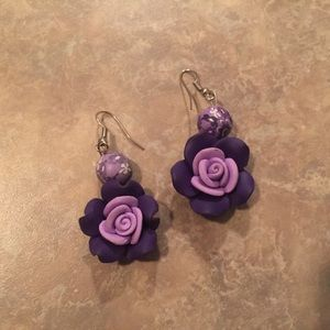 Purple Resin Floral Drop Earrings